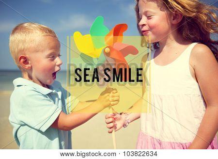 Sea Smile Water Sky Blue Sunlight Nature Landscape Concept