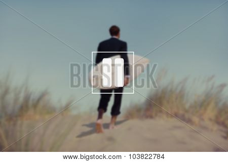 Businessman Surfboard Beach Relaxation Vacation Concept