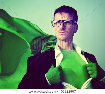 Strong Superhero Businessman Transforming Concept