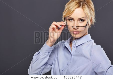 beauty business woman in formal wear. sexy teacher.beautiful blond girl in glasses