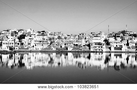 Holy Brahman Town Lake Pushkar Rajasthan India Concept