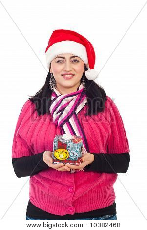 Beauty Woman Holding Christmas Gift