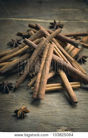 Cinnamon Stick And Star Anise Spice On Rustic Wood Table  Background, Still Life Photography With Ci