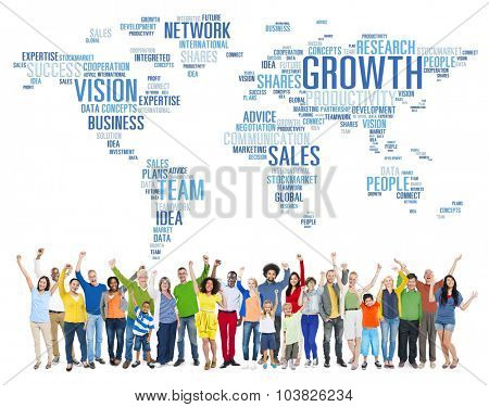 Global Business People Corporate Celebration Success Growth Concept