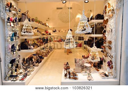 SANTORINI, GREECE - AUGUST 07, 2015: store interior. Santorini, classically Thera, and officially Thira, is an island in the southern Aegean Sea, about 200 km southeast of Greece's mainland.