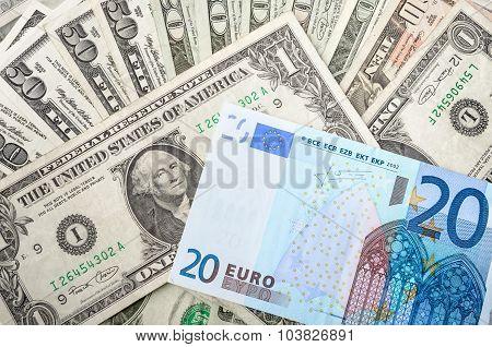 Dollar and Euro Bills
