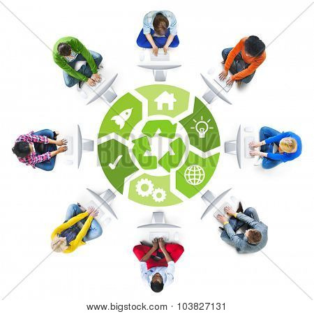 People Social Networking and Environmental Conservation Concept