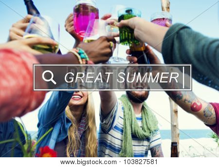 Great Summer Beach Enjoyment Freedom Fun Concept