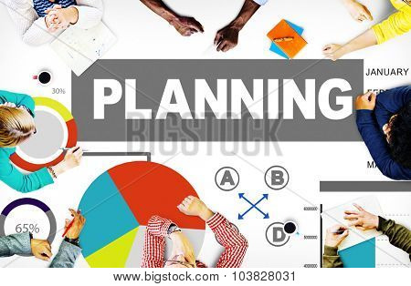 Planning Bar Graph Data Development Plan Strategy Concept