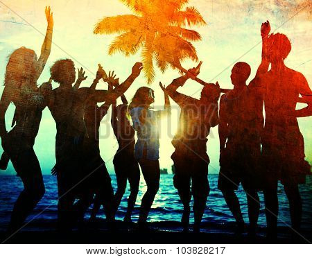 Young Togetherness Party Fun Freedom Beach Summer Concept
