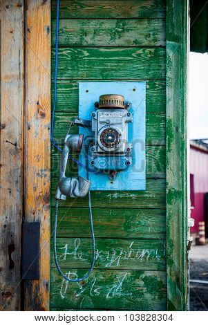 Old Fashioned Phone On The Wall