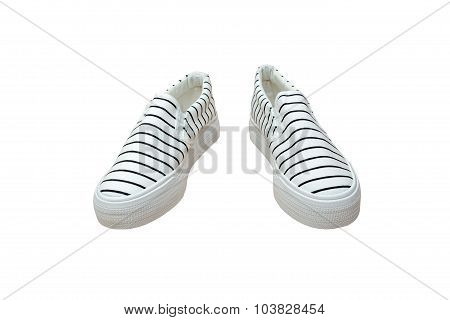 Pair Sneakers, Vintage Strip Color  Isolated On White Background