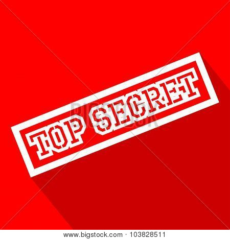 Top Secret white line flat icon