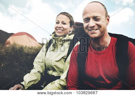 Hikers Camping New Zealand Mountain Concept