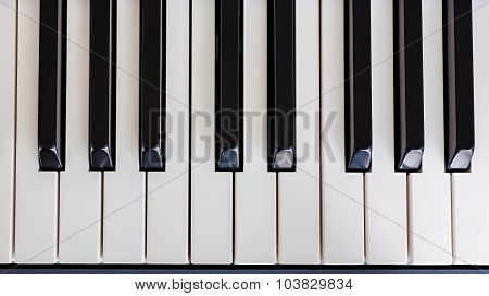 Piano Keyboard Synthesizer Closeup Key Top View