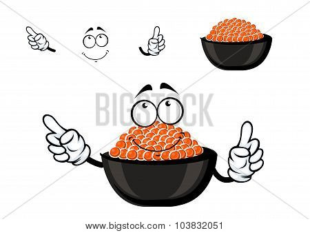 Red caviar bowl cartoon character
