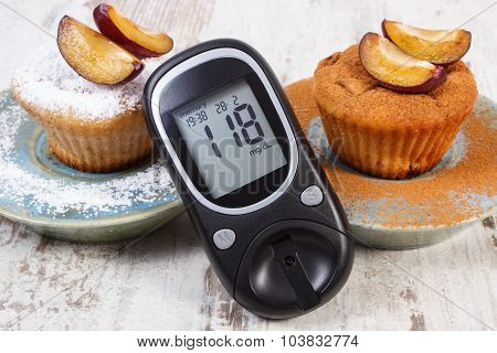 Glucometer, Muffins With Plums Powdered Sugar And Cinnamon, Diabetes And Delicious Dessert