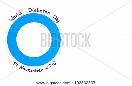 Blue Circle Of Paper On White Background, Symbol Of World Diabetes Day