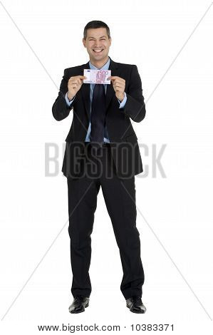 businessman with money isolated on white background