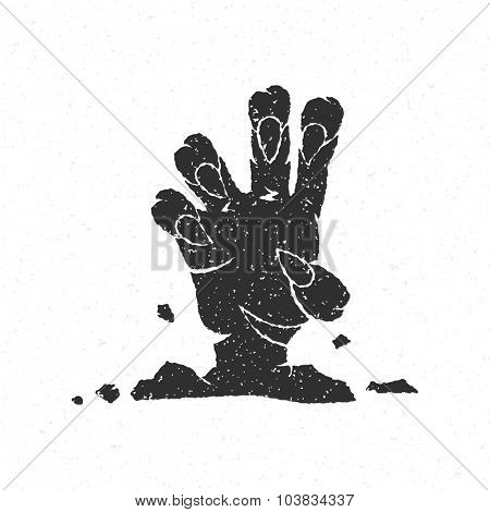 Halloween zombie hand coming out from grave vector illustration