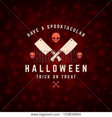 Vintage Happy Halloween Typographic Design Vector Background and Skull