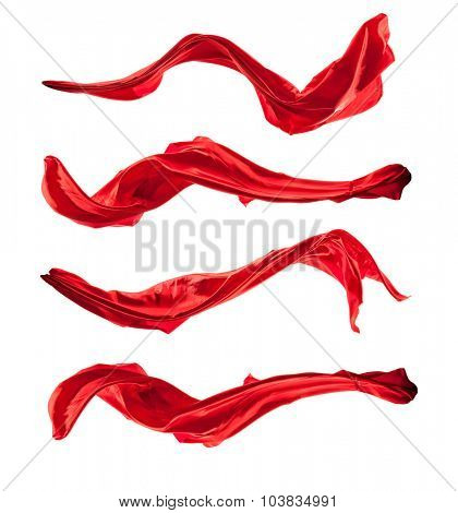 Isolated shots of freeze motion of red satin, isolated on white background