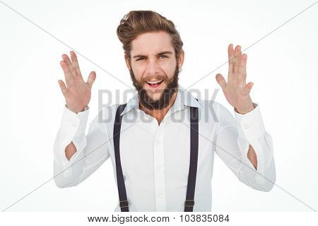 Portrait of happy hipster gesturing against white background