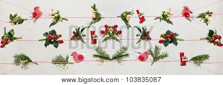 Christmas  garlands  with fresh flowers,leaves,berries and fir branches