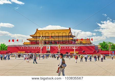 Beijing, China - May 19, 2015: People,  Citizens Of Beijing, Walk On Tiananmen Square - The Largest