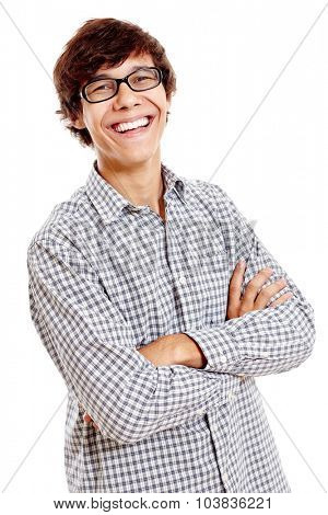 Young hispanic man wearing blue checkered shirt and black glasses standing with crossed arms and laughing isolated on white background
