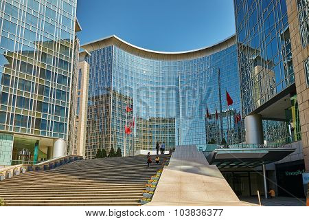 Beijing, China - May 18, 2015: The People-the Citizens Of Beijing, Modern Office And Residential Bui