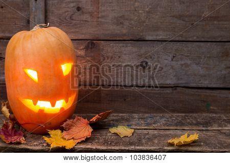 Halloween Pumpkin Head With Light Face