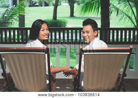 Relaxing in deckchairs