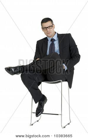 businessman with eyeglasses isolated on white background