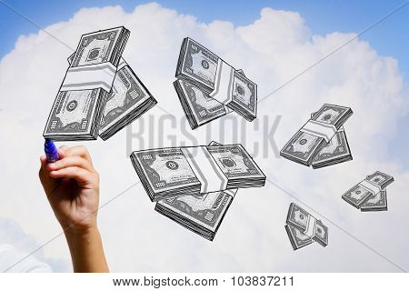 Hand drawning packs of dollar banknotes on white background