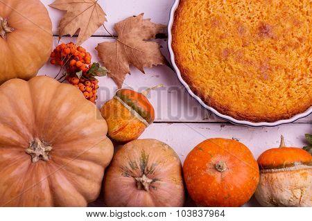 Autumn Still Life. Homemade Pumpkin Pie For Thanksgiving Day.