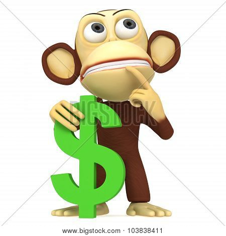 3D Monkey With Dollar Sign