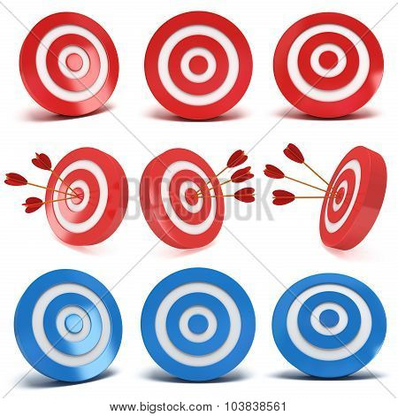 Set Of 3D Red And Blue Aim Targets