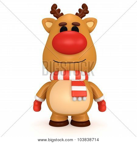 Christmas Deer With Red Nose Wear Scarf And Mittens