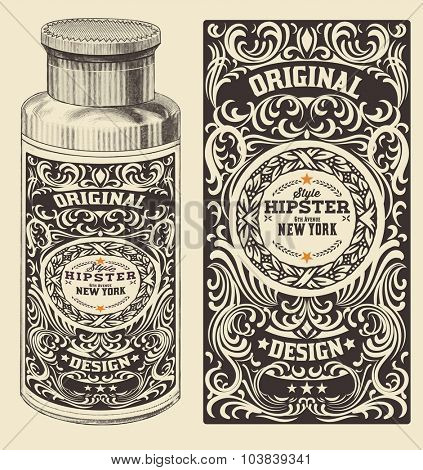 Retro design with bottle. Vector.