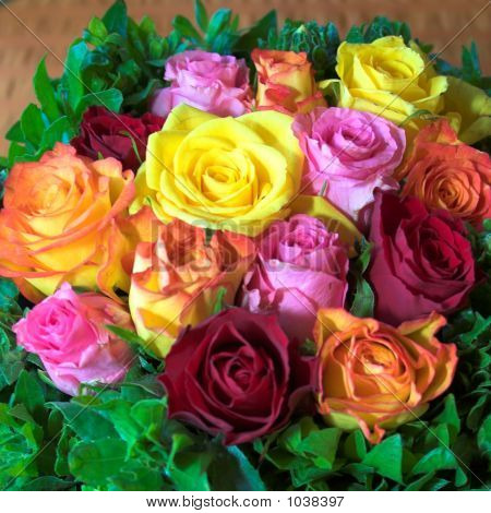 Party Roses Arranged In Variety Of Color