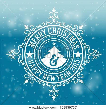 Christmas greeting card background. vintage ornament decoration with Merry Christmas holidays and Happy new year message. Vector illustration.