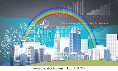 Collage background image with business office buildings