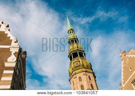 Tower of Saint Peters Church in Riga, Latvia.
