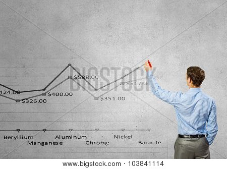 Rear view of businessman drawing graph of metal price on wall