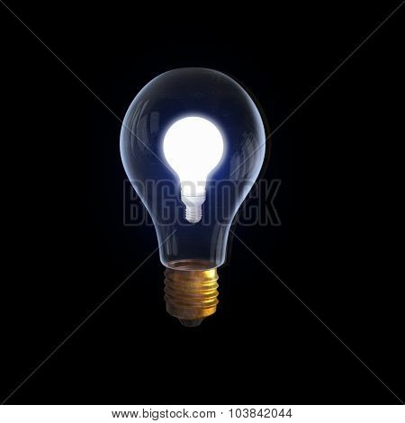 Glass glowing light bulb on black background