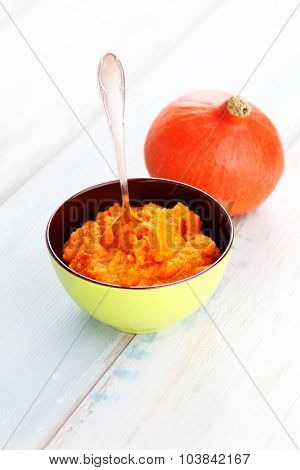 organic orange pumpkin puree ingredient for baking - fruits and vegetables