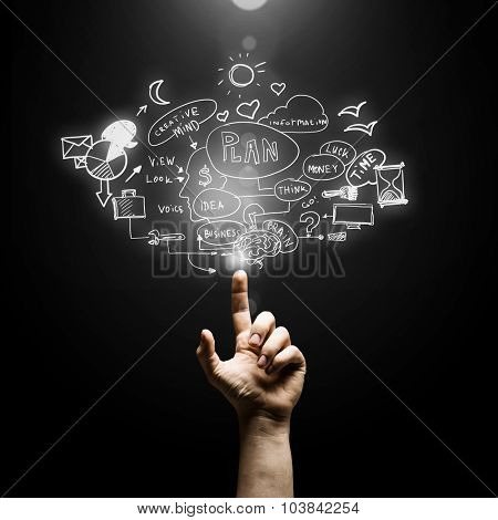 Male hand pointing with finger at business plan on screen