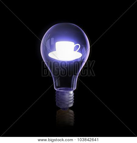 Glass light bulb with cup on black bakground