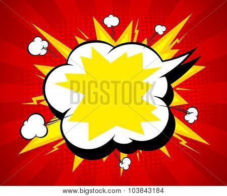 Pop-art explosive speech bubble vector backdrop.